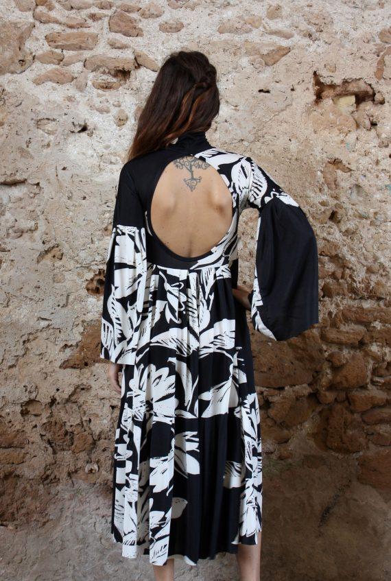 Abito fiori bianco e nero oblo Elio Fronterrè stilista italiano siciliano marzamemi3