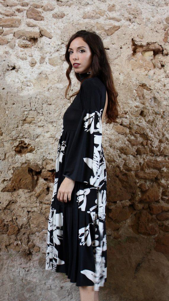 Abito fiori bianco e nero oblo Elio Fronterrè stilista italiano siciliano marzamemi4