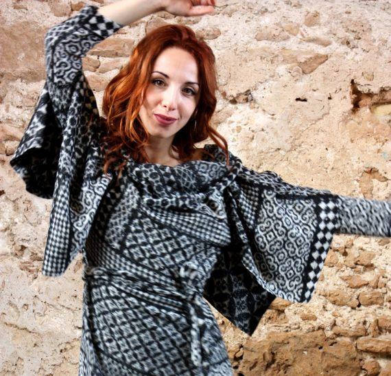 Abito lana modello vestaglia Elio Fronterrè stilista italiano siciliano marzamemi1