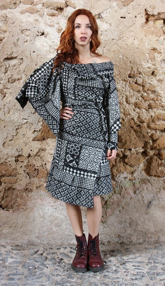 Abito lana modello vestaglia Elio Fronterrè stilista italiano siciliano marzamemi4