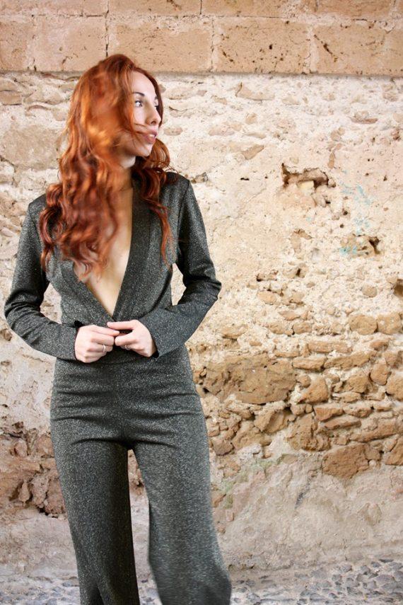 Panta lurex verde Elio Fronterrè stilista italiano siciliano marzamemi1