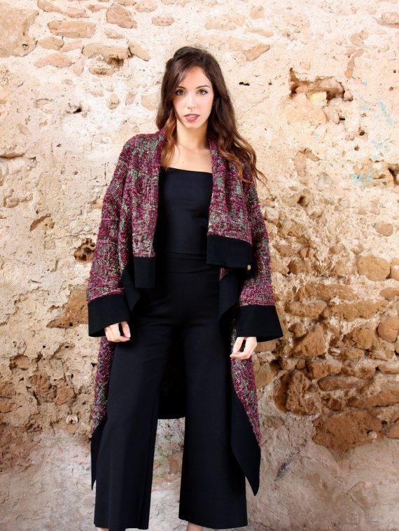 Cappotto rosa lurex nero collezione autunno inverno 2019 elio fronterre marzamemi sicilia2