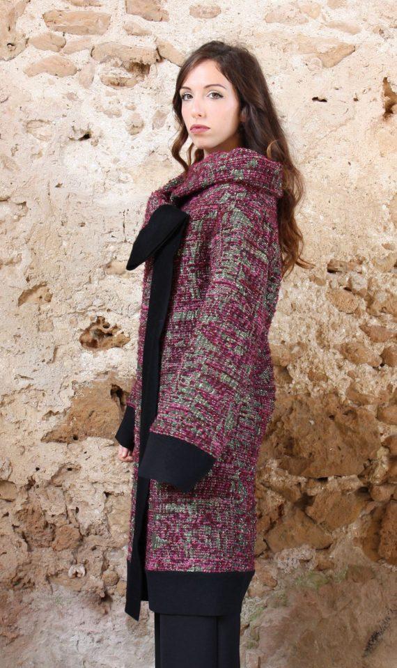 Cappotto rosa lurex nero collezione autunno inverno 2019 elio fronterre marzamemi sicilia3