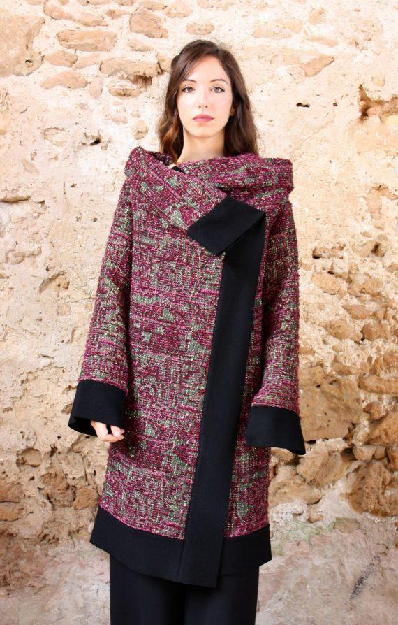 Cappotto rosa lurex nero collezione autunno inverno 2019 elio fronterre marzamemi sicilia4