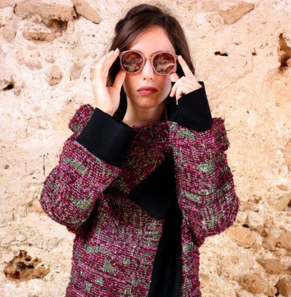 Cappotto rosa lurex nero collezione autunno inverno 2019 elio fronterre marzamemi sicilia5