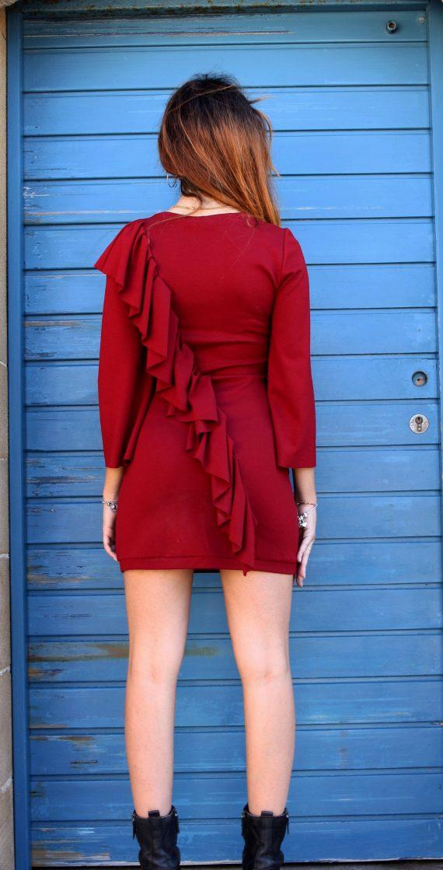 Art F44 abito rosso corto con rouche1 scaled