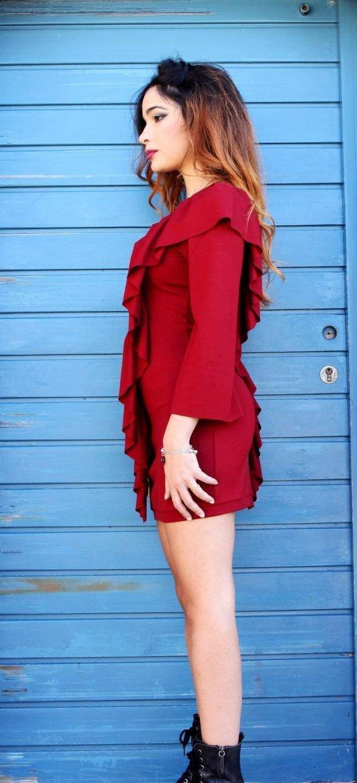 Art F44 abito rosso corto con rouche4 scaled