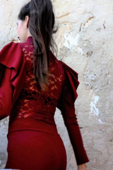 Art F53 Blusa rossa retro pizzo3