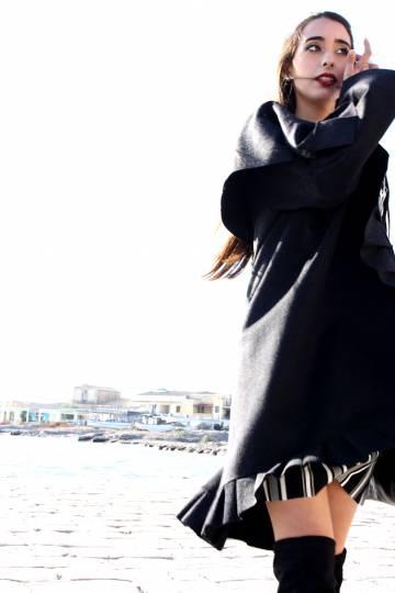 Art F87 Cappotto Grigio scuro con rouche4